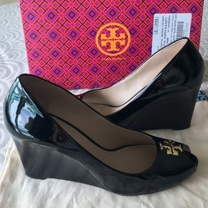 Tory Burch Patent Leather Peep-toe Wedge